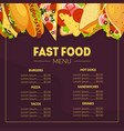fast food menu template restaurant brochure tako vector image
