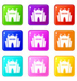 fortress icons set 9 color collection vector image vector image