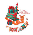 gift boxes on sled and christmas toys vector image