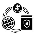 global finance circle icon simple style vector image