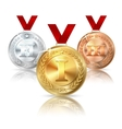 Golden Silver and Bronze medal with red