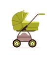 green bapram or stroller safe transportation vector image vector image