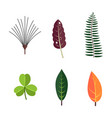 green tropical leaves floral icons set autumn vector image