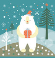 greeting card christmas card with a polar bear vector image