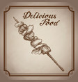 hand drawn kebab delicious food sketch vintage vector image vector image