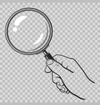 hand holding magnifying glass on transparent vector image