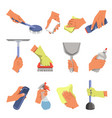 hands holding different cleaning tools flat vector image vector image