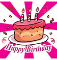 happy birthday cake ribbon white and pink backgrou vector image