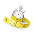 measuring tape entwine stopwatch - diet and vector image vector image