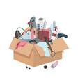 messy box with useless broken things vector image vector image
