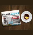 morning newspaper wood background poster vector image vector image
