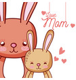 mothers message card with animals cartoons vector image vector image