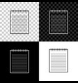 notebook icon isolated on black white and vector image vector image