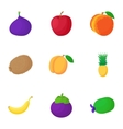 Organic fruit icons set cartoon style vector image vector image