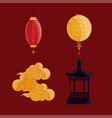 paper lantern clouds vector image vector image