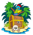 pirate island with treasure chest vector image