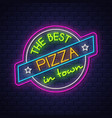 pizza neon sign on brick wall background vector image vector image