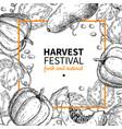 pumpkin frame hand drawn vintage harvest vector image vector image