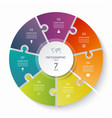 puzzle infographic circle with 7 steps options vector image vector image