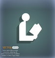 read a book icon symbol on the blue-green abstract vector image