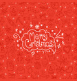red background with merry christmas logo in vector image vector image