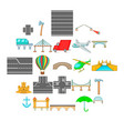 road junction icons set cartoon style vector image vector image