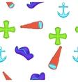 Sailing equipment pattern cartoon style vector image vector image