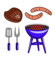 set of barbecue isolated on white background vector image
