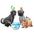 set pet cartoon character vector image vector image