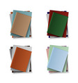 stack blank books top view various blank vector image