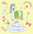 stickers set with unicorns icons unicorn vector image vector image
