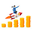 successful businesswoman flying on rocket on graph vector image vector image
