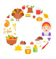 thanksgiving icon arrange as circle frame shape vector image vector image