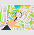 the marker on the city map under the magnifying vector image