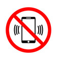 the use of a mobile phone is prohibited vector image vector image