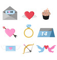 valentine day related objects graphic set vector image