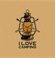 vintage camp lantern patch logo i love camping vector image vector image