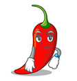 waiting red chili pepper isolated on mascot vector image vector image