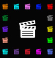 Cinema Clapper icon sign Lots of colorful symbols vector image