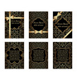 set of gold greeting cards vector image