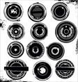 grungy rubber stamps black set vector image