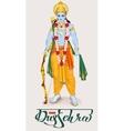 Happy dussehra hindu festival Lord Rama holding vector image