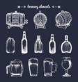 set of vintage brewery elements retro vector image