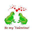 A couple of funny cartoon frogs with hearts vector image vector image