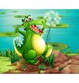 A crocodile above the stump near the pond vector image vector image