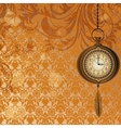 Abstract wallpaper with bronze pocket watch vector image vector image