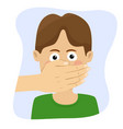 adult man hand covering mouth of boy vector image vector image