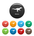 allosaurus icons set color vector image vector image