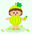 baby in the suit of green gooseberry vector image vector image