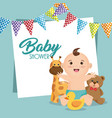 baby shower card with little boy vector image vector image